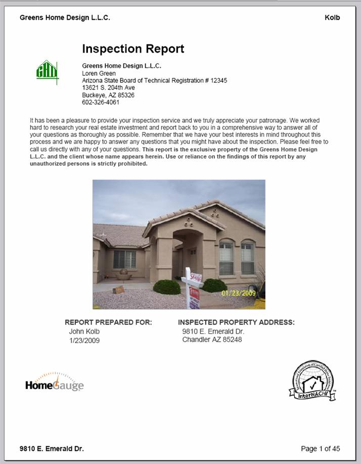 Sample Home Inspection Report - Phoenix Home Inspector, Buckeye